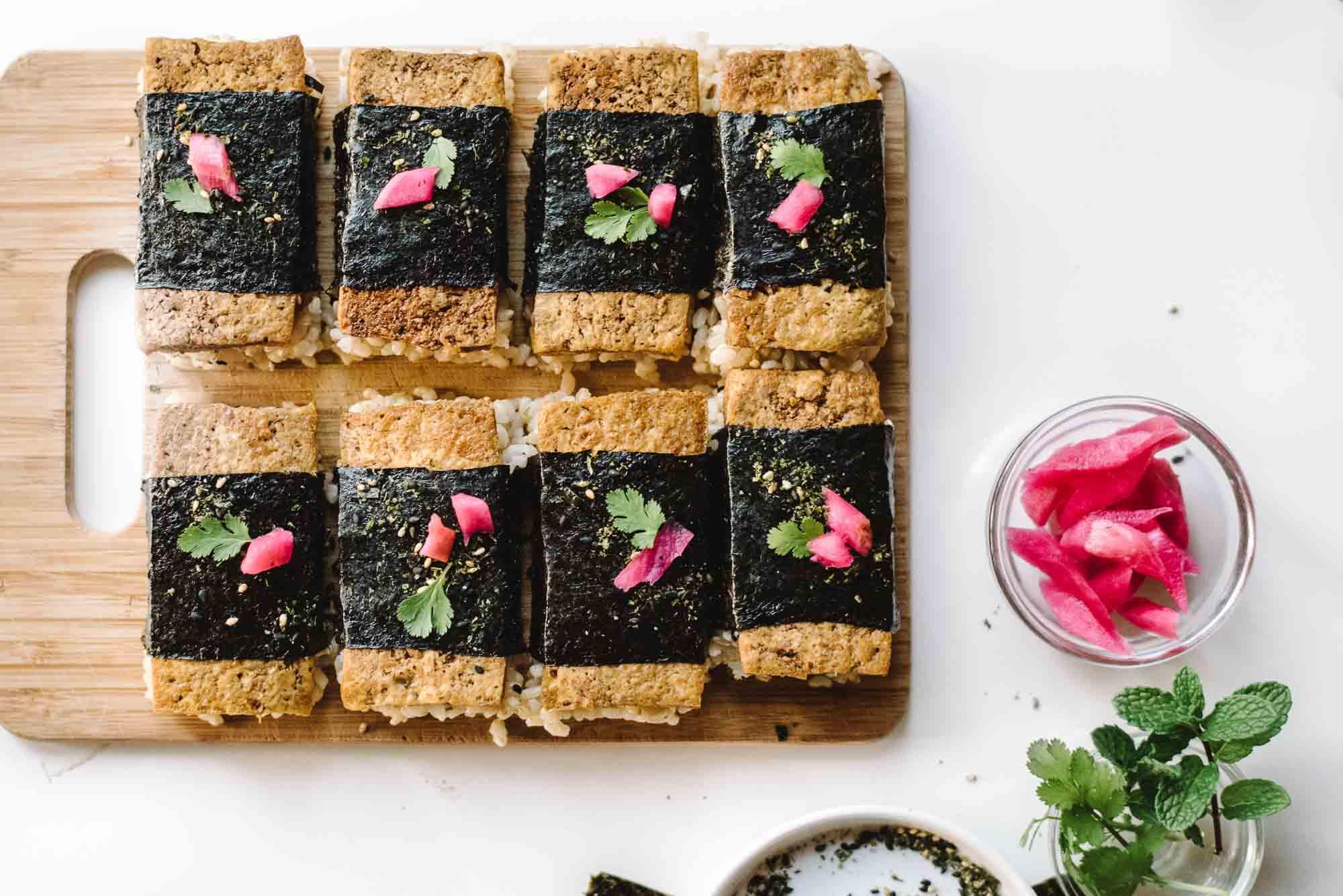 Soy Glazed Tofu Musubi From Aloha Kitchen By Alana Kysar Kale Caramel